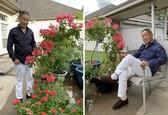 Starkí pózujú s kvetinovými výtvormi